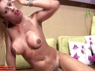 Doll with balls covers heavenly titties in strawberry juice