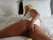 Very Young Blonde Teen Fucks Herself In Daddys Bed While Boyfriend Films