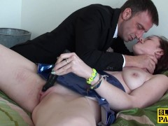 Obedient choked slut toying her clit