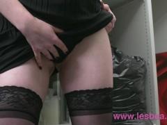 Lesbea Alt babe masturbates at work before eating hot blonde boss pussy