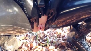 Hot girlfriend pissing in full black latex catsuit  kink latex piss latex fetish rubber doll rubber fetish latex femdom rubber piss rubber catsuit latex catsuit catsuit pissing in public