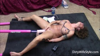 Hot brunette gets machine fucked on floor with big cock  sex machine fuck machine tits dildo wife big toys masturbate mom toys milf kink brunette slut mother sex toys adult toys