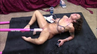 Hot brunette gets machine fucked on floor with big cock  fuck machine tits dildo wife big toys masturbate mom toys milf kink brunette slut mother sex toys adult toys sex machine