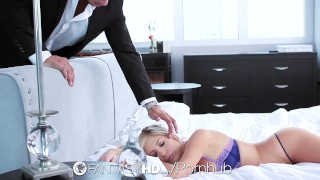 FantasyHD Sleeping girlfriend wakes up for lubed fuck and creampie