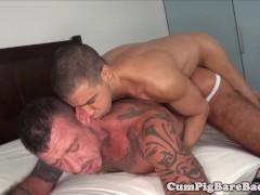 Tattooed bear barebacked in mature threesome