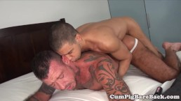 Tattooed bear barebacked in mature threesome