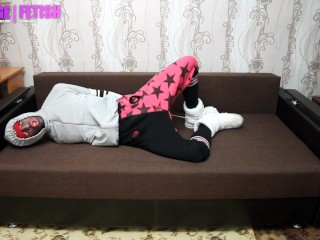 Tied boy in pants and socks slipper boots
