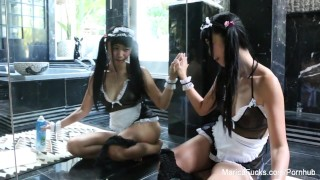 Japanese maid gets horny cleaning up the bathroom  lingerie masturbation babe masturbating maid solo girl asian maricahase masturbate solo pornstar puba bathroom hardcore japanese brunette