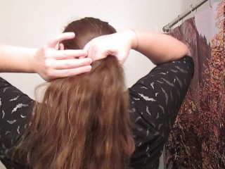 Taking Out a Lazy Bun with Long Curly Hair