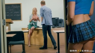 Brazzers - Lucky guy fucks class mate and teacher  big tits ass reverse cowgirl threeway mom blonde brazzers big dick schoolgirl young milf cock sucking school brunette 3some mother threesome teenager fake tits