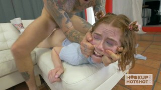 Red Head Teen Hooks Up with guy for Brutal Sex  brutal sex trimmed-pussy ginger squirt pounded young hardcore natural-tits hookuphotshot rough face-fuck drilled teenager finger-bang
