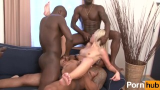 toys blonde small-tits shaved-pussy anal ass-fuck interracial hardcore cock-sucking bbc big-cock dp airtight doggy style