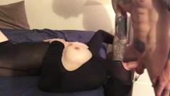 Face fucked cumshot on pantyhose