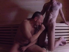 Daddy Fucks Son Bareback in Sauna - Younger Older Mature