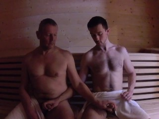 Stepdad Fucks Stepson in Sauna Bareback - Mature Older Younger