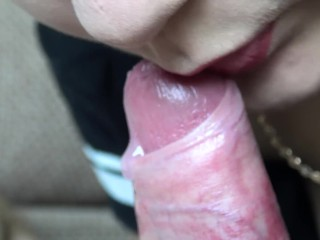 Close-up Blowjob and Sperm in Mouth