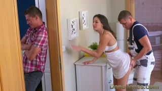 Dane Jones Cheating brunette wife is fucked and creampied by plumber plumber creampie small-tits shaved-pussy brunette orgasm doggy-style blowjob terra-twain cheating-wife danejones