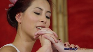 Massage Rooms Nympho Asian fucks big cock before hot hand job  paula-shy big-cock shaved-pussy asian blowjob massage female-friendly sensual female-orgasm brunette feet massagerooms big-natural-tits orgasm 69-position handjob-compilation