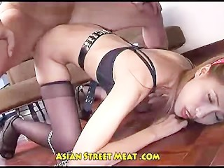 Asian girl got her European dick