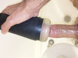 Fleshlight fun with cum shot