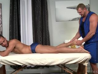 Menover30 speedo clad swimmer tops his masseur