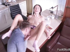 FuckStudies.com - Ambika Gold - The cute virgin tries anal for the first ti