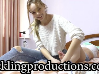 Tickling Olga part 3 - Adeline love's Olga's feet ! - clip is 7:44 min long