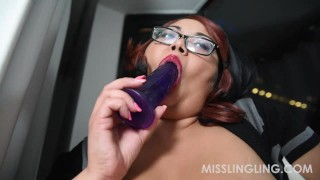 Asian BBW Miss Ling Ling Masturbates in Window for All to See fat-tits plumperpass chubby