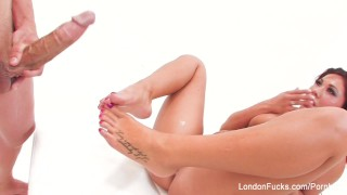 London gets him off with her mouth, hands, and feet  bj foot-fetish big-tits londonkeyes big-ass asian blowjob pornstar puba big-boobs fetish blow-job hardcore kink brunette footjob feet big-dick