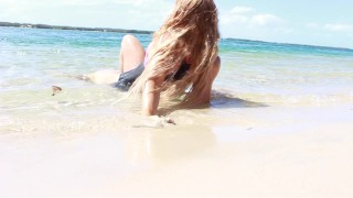 SECRETCRUSH - Big Booty Oiled Swimsuit Teen Risky Public Stripping On Beach