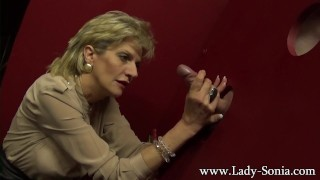 Busty milf Lady Sonia milking a huge dick on the gloryhole  big tits british mom blonde gloryhole cumshot handjob mature mother big boobs glory hole stroke fake tits wanked tug lady sonia huge tits