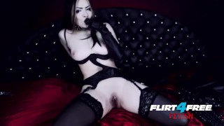 Goth Goddess Fucks Herself in Latex  alternative dominatrix bdsm submission goddess-worship latex-bondage masturbate goth big-boobs boot-worship kink webcam flirt4freefetish humilation mistress gothic-pussy