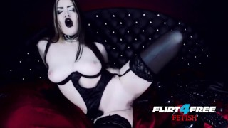 Goth Goddess Fucks Herself in Latex  gothic pussy alternative dominatrix bdsm submission masturbate goth kink webcam humilation mistress big boobs goddess worship flirt4freefetish latex bondage boot worship