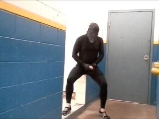 risky masked jerk off in gym hall