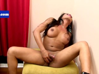 Tgirl latina sensually pulling her cock