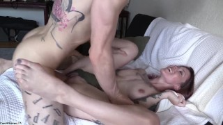 Amauter Tattooed Couple  big tits hairy couple bushy tattoo hardcore cowgirl raw tattoos doggystyle pussy licking big boobs ass licking