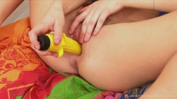 Her banana sex toy is everything she needs
