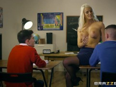 Brazzers - Dirty teacher Blanche Bradburry gets fucked by two studs