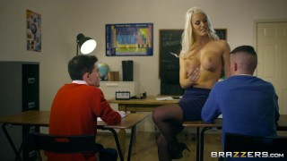 Brazzers - Dirty teacher Blanche Bradburry gets fucked by two studs
