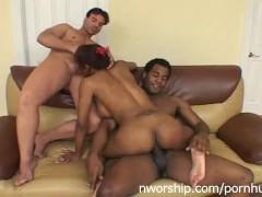 black whore sucking 2 cocks hot interracial threesome