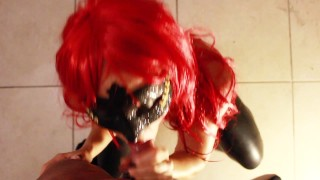 SECRETCRUSH - Teen Redhead Latex Vixen Gives POV Sloppy Slobbery Blowjob!  slobbery blowjob sloppy pov blowjob sloppy point-of-view vixen redhead gag leather cumshot pov pvc blow-job latex slobbering-blowjob slobber sloppy blow job