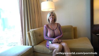 Big Titty MILF Gets Drilled In Vegas  vegas big-tits huge-tits hand-job mom blowjob blonde big-boobs wifeysworld milf hardcore mature cougar mother cum-shot hotel