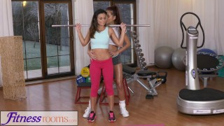 Fitness Rooms Fit tight body gym girl works up a sweat with big tits Asian  asian exercise fitnessrooms lycra lesbian paula shy big-tits small-tits workout kissing brunette gym girl-on-girl