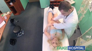 Fake Hospital Shy patient with soaking wet pussy squirts on docs fingers