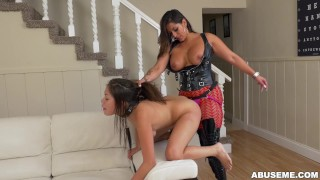 Latina Camgirl Spicy J Dominates Samantha Parker With a Strapon  big ass spicy j ass strapon booty fetish young kink lesbian brunette rough latina latin toy abuseme