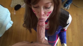 young cumshot facial cosplay overwatch d.va redhead college deepthroat 60fps hd-pov 1080p oral fellatio