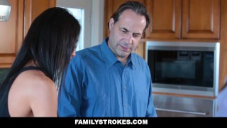 FamilyStrokes- Hot Teen Blackmails & Fucks Panty Sniffing Step-Dad  chloe-scott cumshot step-daddy step-daughter cum-on-tits hardcore smalltits brunette stepdad familystrokes petite father shaved bigcock doggystyle