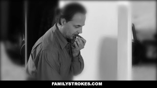 FamilyStrokes- Hot Teen Blackmails & Fucks Panty Sniffing Step-Dad chloe scott cum-on-tits hardcore father shaved cumshot step-daddy smalltits brunette stepdad step-daughter familystrokes bigcock petite doggystyle