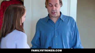 FamilyStrokes- Hot Teen Blackmails & Fucks Panty Sniffing Step-Dad  cumshot step-daddy step-daughter cum-on-tits hardcore smalltits brunette stepdad familystrokes petite father shaved bigcock doggystyle chloe-scott