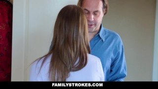 FamilyStrokes- Hot Teen Blackmails & Fucks Panty Sniffing Step-Dad  chloe scott smalltits hardcore brunette stepdad familystrokes petite father shaved bigcock doggystyle cumshot